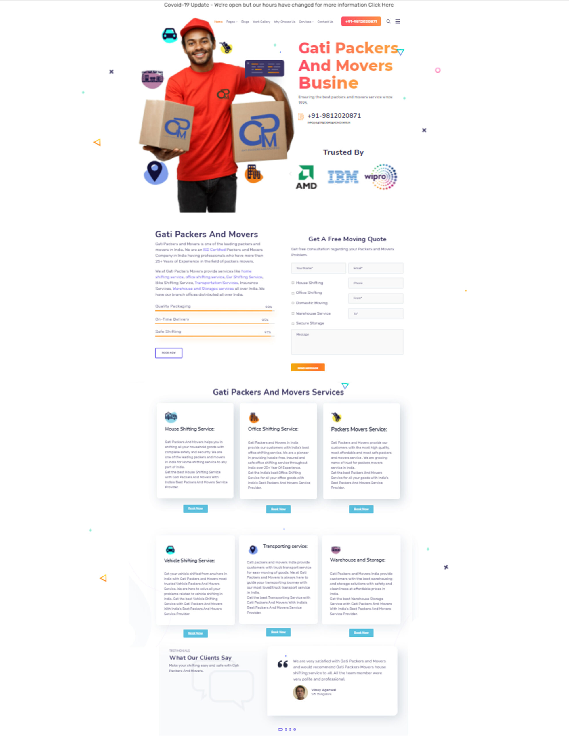 Gati Packers And Movers Website Development By Rankofy - best website development service in chandigarh