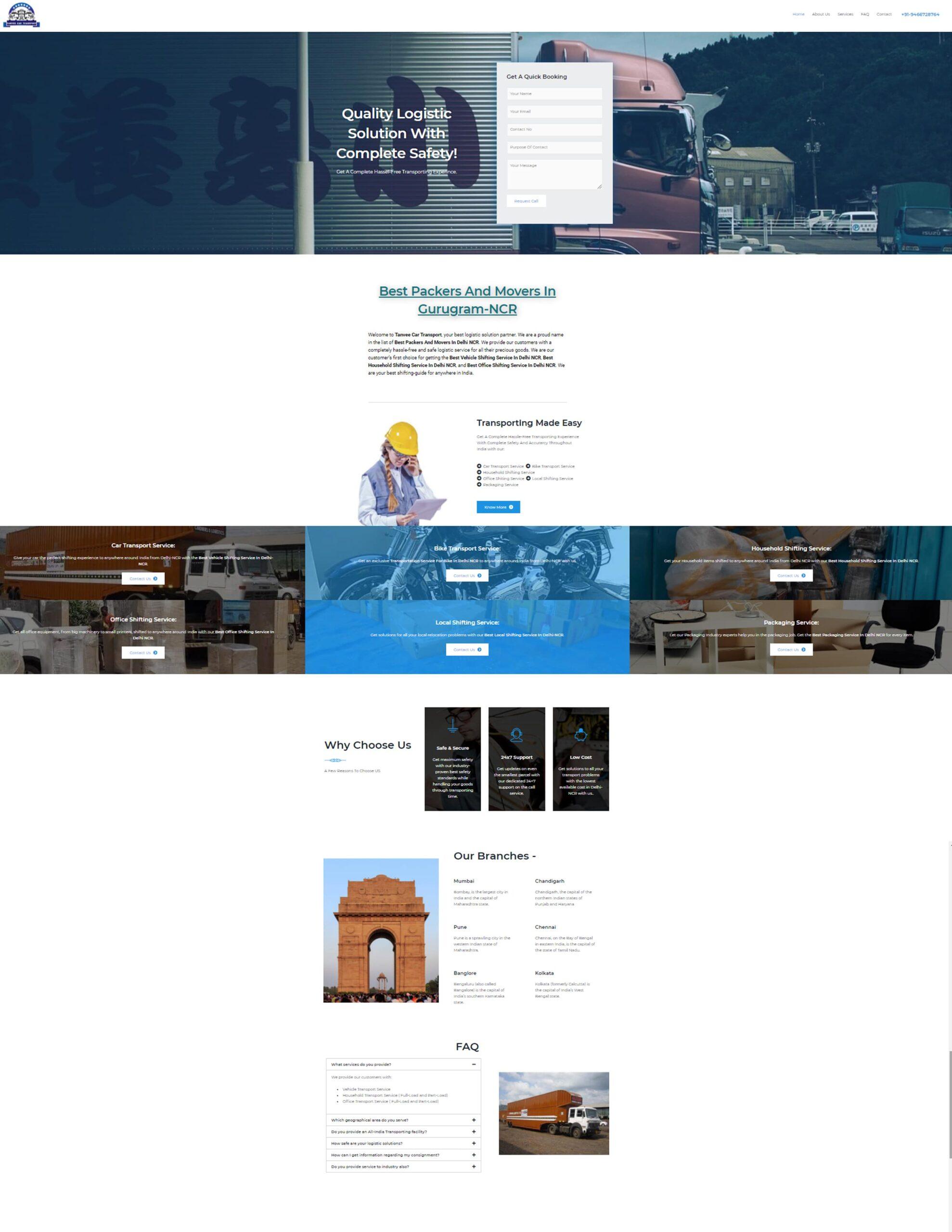 tanvee car transport best website development service in chandigarh by Rankofy